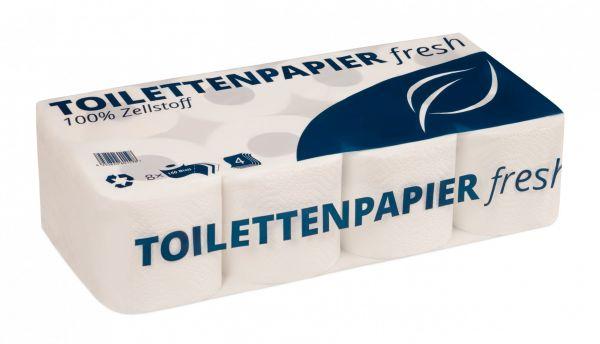 Toilettenpapier - 4-lagig - 150 Blatt - Zellstoff hochweiß